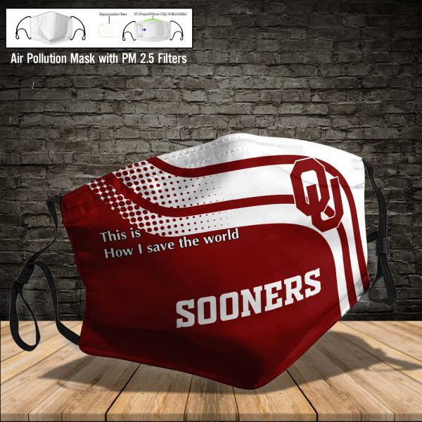 NCAA - Oklahoma Sooners #2 Save The World Print Fabric, Reusable Dust Mask, Face Cover with Filter Activated Carbon PM 2.5