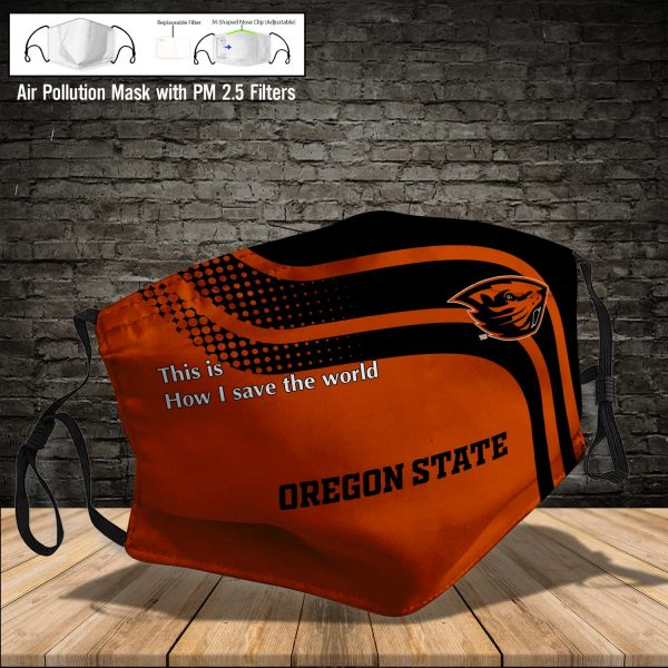 NCAA - Oregon State Beavers #2 Save The World Print Fabric, Reusable Dust Mask, Face Cover with Filter Activated Carbon PM 2.5