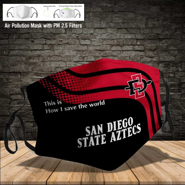 NCAA - San Diego State Aztecs #2 Save The World Print Fabric, Reusable Dust Mask, Face Cover with Filter Activated Carbon PM 2.5