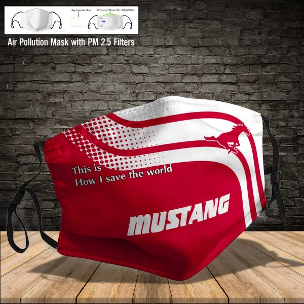 NCAA - Smu Mustangs #2 Save The World Print Fabric, Reusable Dust Mask, Face Cover with Filter Activated Carbon PM 2.5