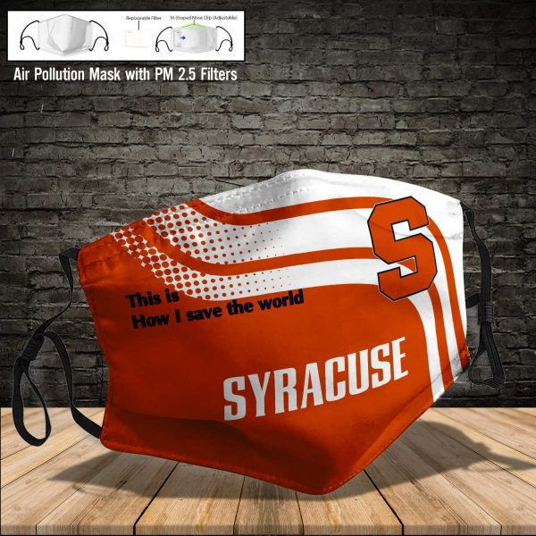 NCAA - Syracuse Orange #2 Save The World Print Fabric, Reusable Dust Mask, Face Cover with Filter Activated Carbon PM 2.5