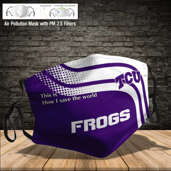 NCAA - TCU Horned Frogs #2 Save The World Print Fabric, Reusable Dust Mask, Face Cover with Filter Activated Carbon PM 2.5