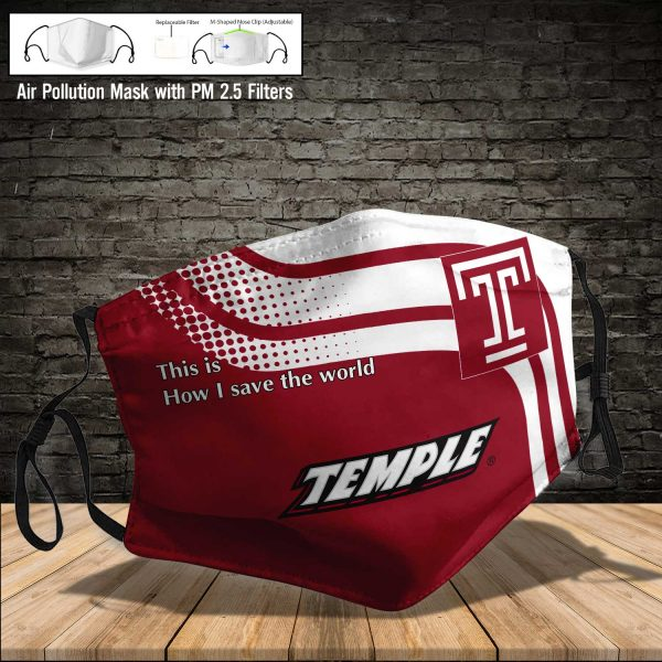 NCAA - Temple Owls #2 Save The World Print Fabric, Reusable Dust Mask, Face Cover with Filter Activated Carbon PM 2.5