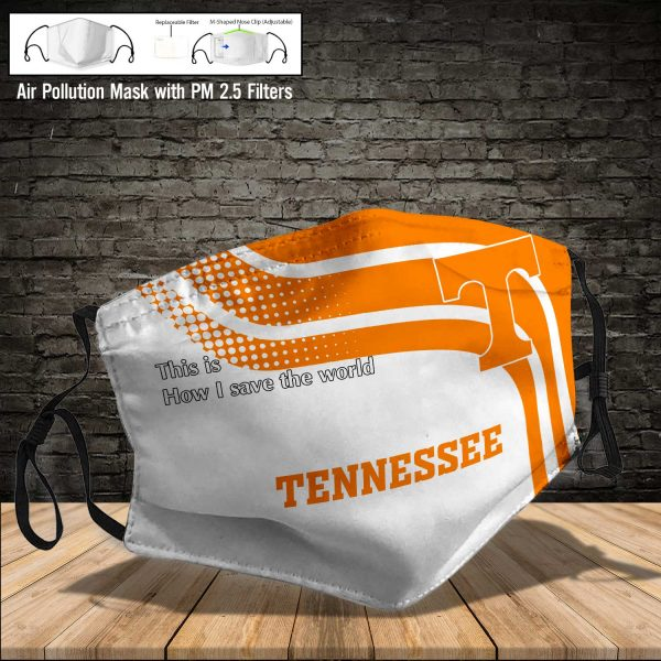 NCAA - Tennessee Volunteers #2 Save The World Print Fabric, Reusable Dust Mask, Face Cover with Filter Activated Carbon PM 2.5