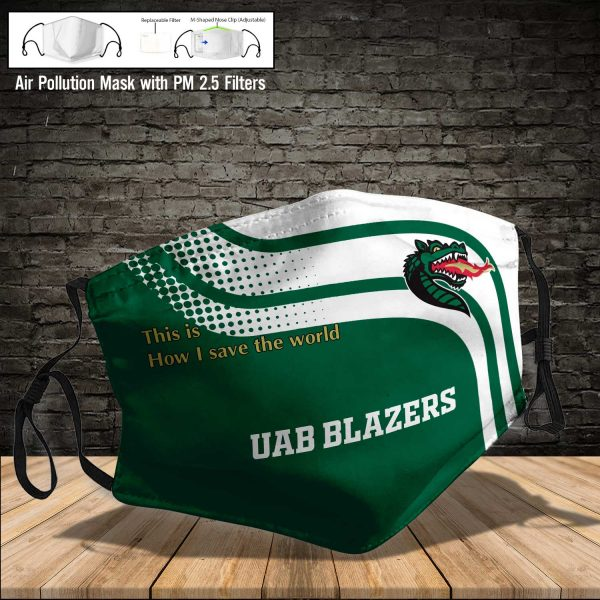 NCAA - Uab Blazers #2 Save The World Print Fabric, Reusable Dust Mask, Face Cover with Filter Activated Carbon PM 2.5