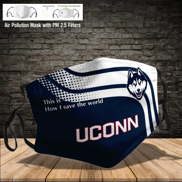 NCAA - UCONN Huskies #2 Save The World Print Fabric, Reusable Dust Mask, Face Cover with Filter Activated Carbon PM 2.5
