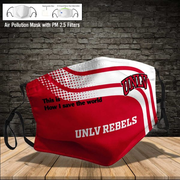 NCAA - UNLV Rebels #2 Save The World Print Fabric, Reusable Dust Mask, Face Cover with Filter Activated Carbon PM 2.5