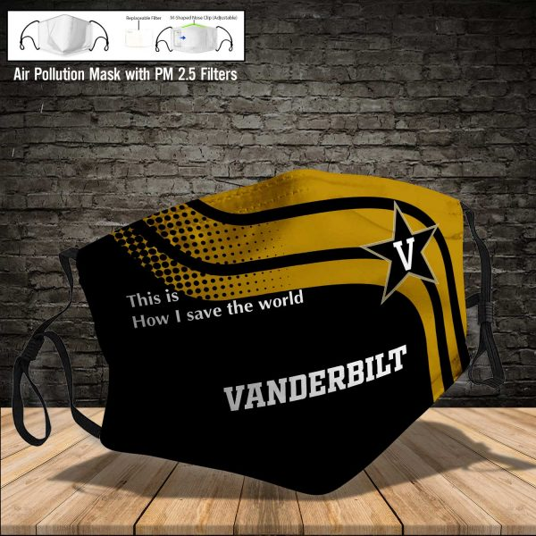 NCAA - Vanderbilt Commodores #2 Save The World Print Fabric, Reusable Dust Mask, Face Cover with Filter Activated Carbon PM 2.5