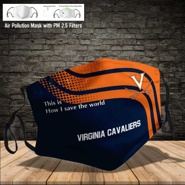 NCAA - Virginia Cavaliers #2 Save The World Print Fabric, Reusable Dust Mask, Face Cover with Filter Activated Carbon PM 2.5