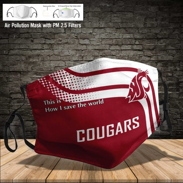 NCAA - Washington State Cougars #2 Save The World Print Fabric, Reusable Dust Mask, Face Cover with Filter Activated Carbon PM 2.5