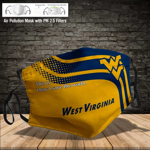 NCAA - West Virginia Mountaineers #2 Save The World Print Fabric, Reusable Dust Mask, Face Cover with Filter Activated Carbon PM 2.5